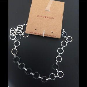 Brandy Melville silver circle chain choker